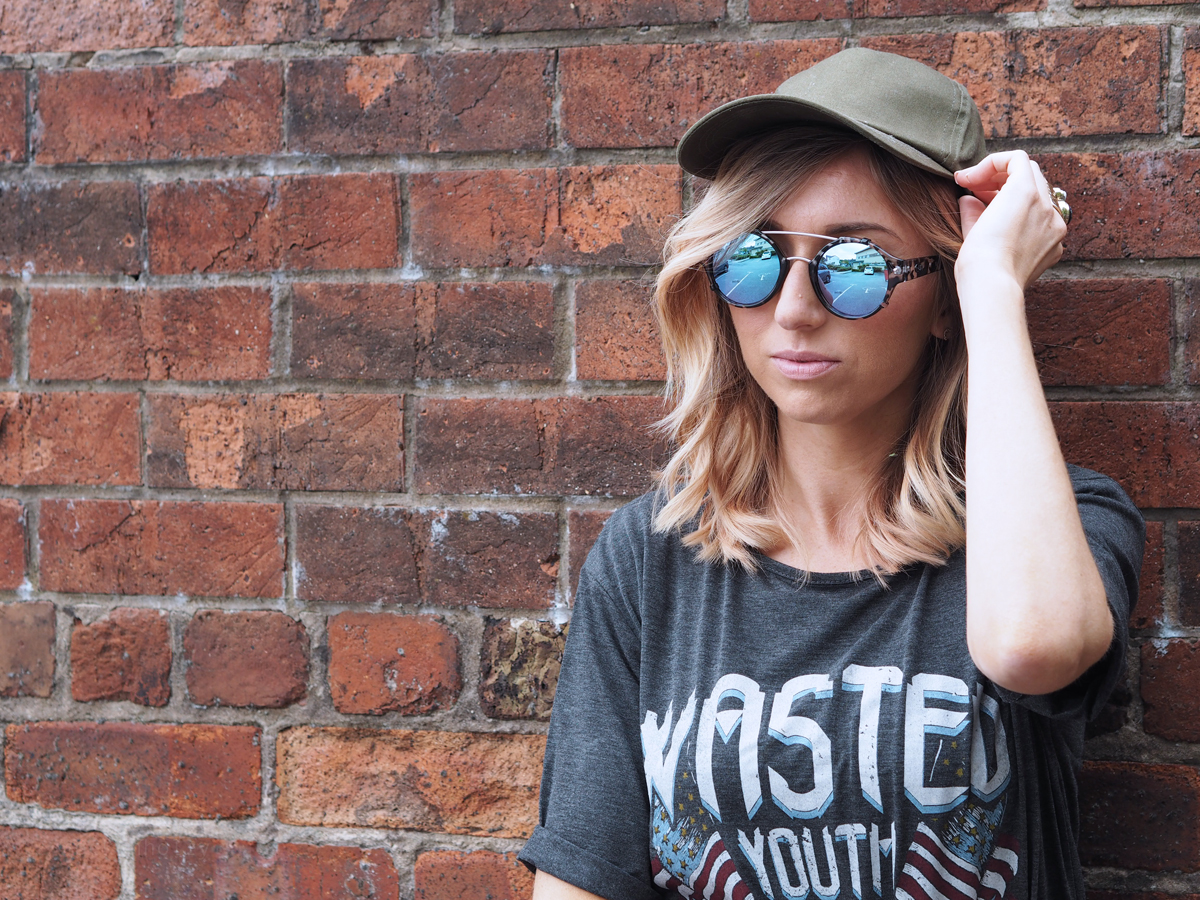Wasted Youth Missguided Tshirt and Clarks Ankle Boots