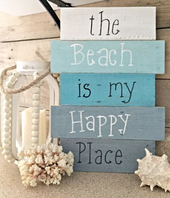 The Beach is my Happy Place Pallet Wood Sign
