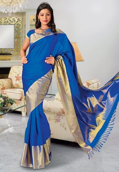Blue Pure Bangalore Handloom Silk Saree