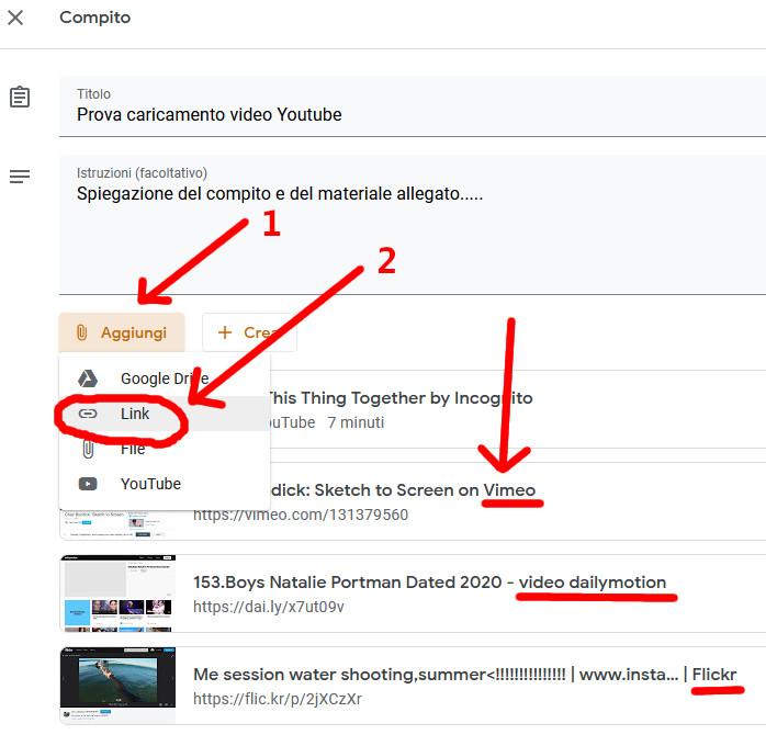 Caricare video Vimeo Dailymotion o Flikr su Google Classroom
