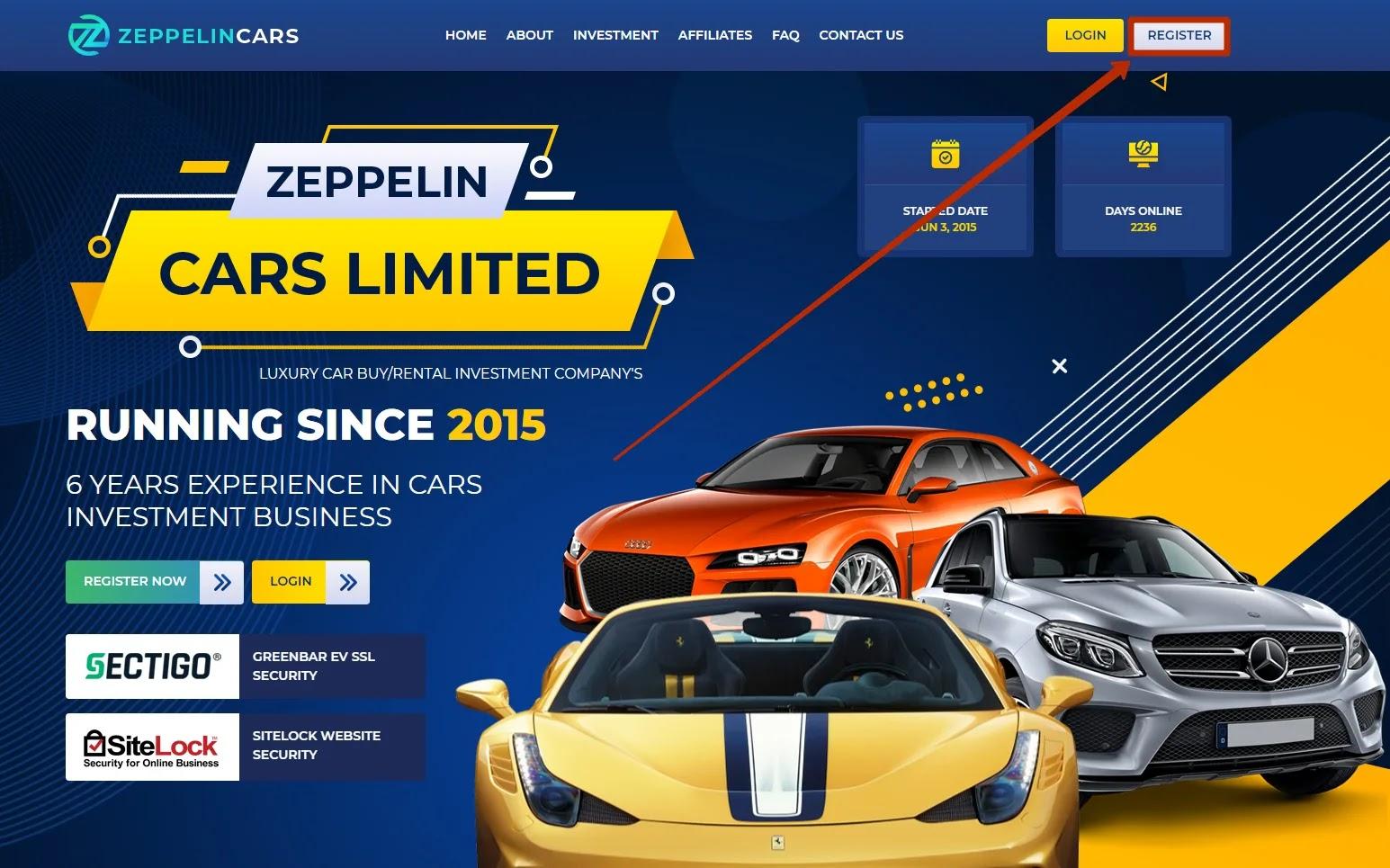 Регистрация в Zeppelin Cars