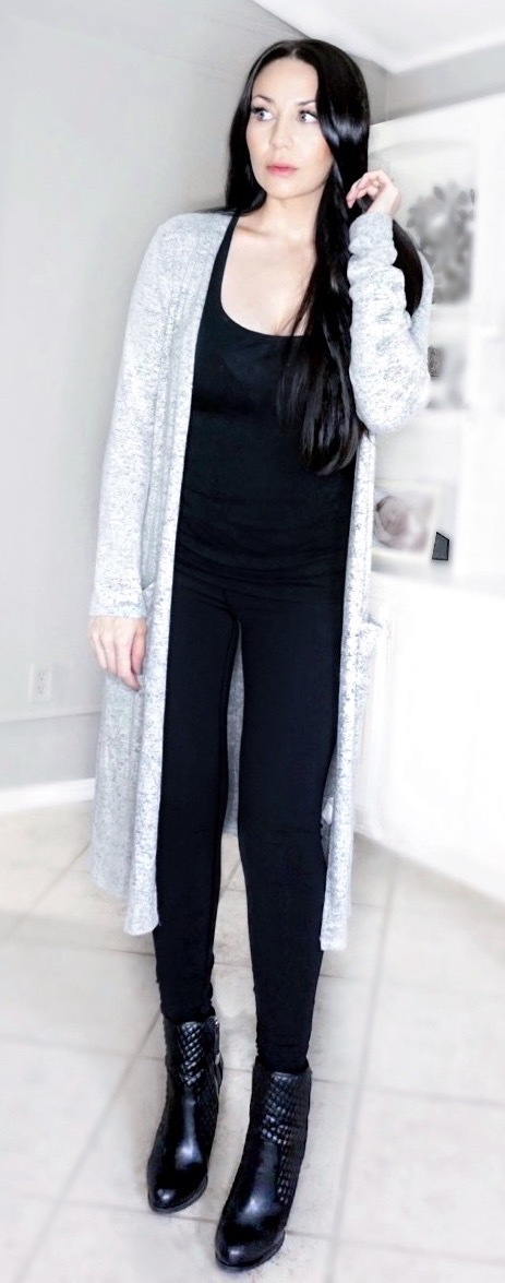 Comfy cozy long grey knit cardigan, paired with chic faux leather booties for fall or winter www.MalenaHaas.com
