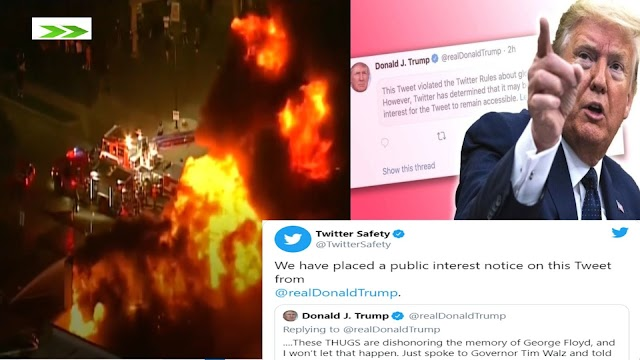 Protesters set Minneapolis police station on Fire and Twitter hides Trump tweet for 'glorifying violence'