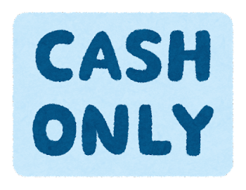 「CASH ONLY」のイラスト文字