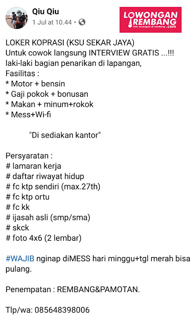 Lowongan Kerja Pegawai KSU Sekar Jaya Rembang