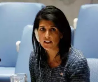"""U.S. Ambassador to the UN Mrs Nikki Haley has  warned Russia that its seizure of three Ukrainian warships  was an """"outrageous violation of sovereign Ukrainian territory"""" ."""