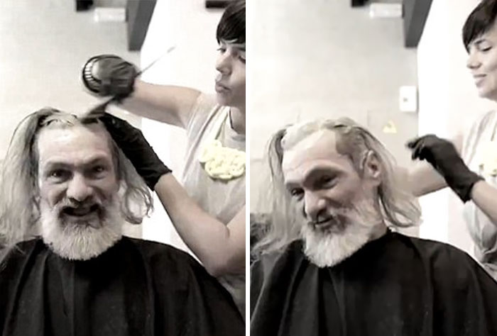 They even dyed his hair brown to give the 55-year-old former electrician a more youthful appearance. - Homeless Man's Unbelievable Makeover is a Life-Changing Transformation