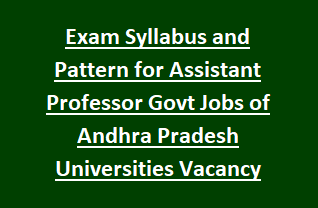 Exam Syllabus and Pattern for Assistant Professor Govt Jobs of Andhra Pradesh Universities Vacancy Recruitment 2018