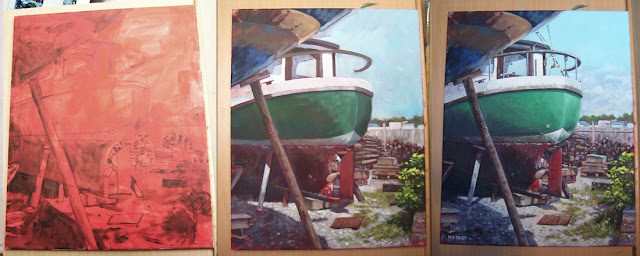 boat yard painting 01 at Shamrock Quay northam