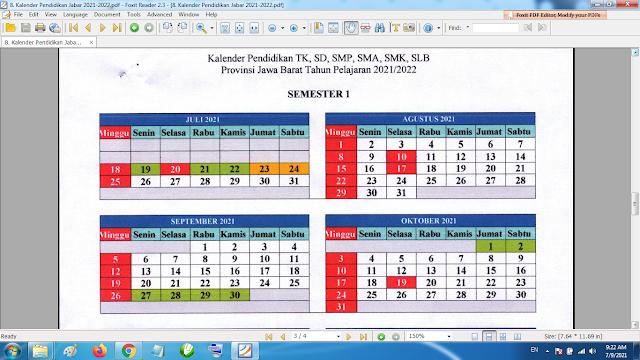 Download Kalender Pendidikan Tahun Pelajaran 2021/2022 Dinas Pendidikan Provinsi Jawa Barat