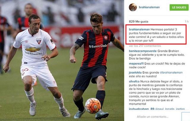 brahian aleman mensaje hinchas barcelona sportin club
