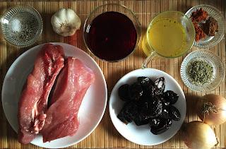 Costillas con salsa de ciruelas y vino tinto - ingredientes