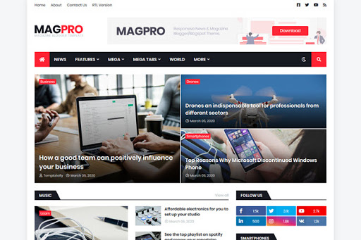 MagPro magazine blogger template free download