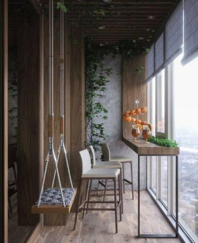 Disposição dos móveis na varanda