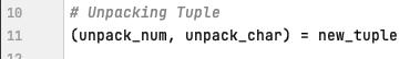 Tuple unpacking in Python