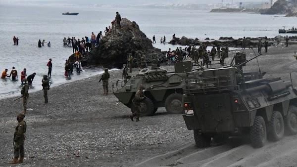 El Ejercito de España actúa en la frontera con Marruecos ante la entrada de miles de inmigrantes