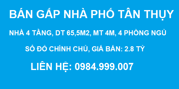 BÁN GẤP nhà phố Tân Thụy, Phúc Đồng, 4 tầng, DT 65.5m2, MT 4m, 2.8 tỷ, SĐCC, 2020