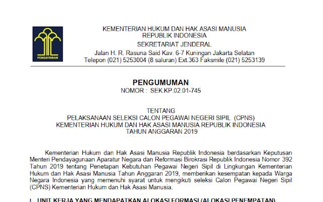 rincian formasi persyaratan cpns kemenkumham 2019 tomatalikuang.com