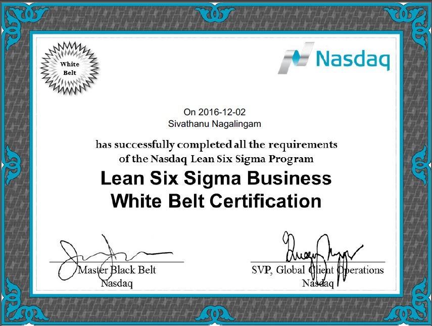 All Is Well Sivathanus Page Lean Six Sigma Certification