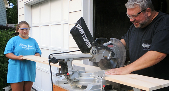 Cutting Wood With Miter Saw