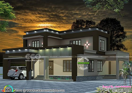 Flat roof 5 BHK house 3093 sq-ft