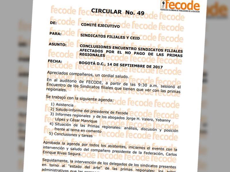 Circular No. 49 Conclusiones encuentro sindicatos filiales afectados por el no pago de las primas regionales