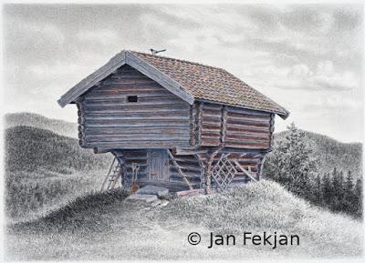 Bilde av digigrafiet 'Kjellerbuloft'. Digitalt trykk laget på bakgrunn av en tegning av et gammelt hus. Hovedmotivet er en gammel gårdsbygning, et kjellerbuloft eller bare loft. På mønet sitter det en fugl, en skjære. Omgivelsene er i svart-hvitt, mens loftet er kolorert og har noe farge. Stilen kan beskrives som figurativ, nasjonalromantisk og realistisk. Bildet er i breddeformat.