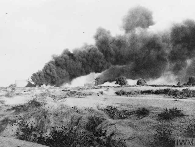 The Yenangyaung oil fields on fire, 16 April 1942 worldwartwo.filminspector.com