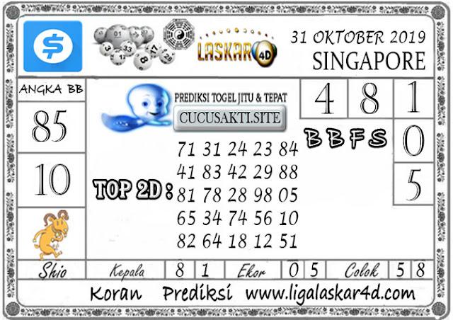 Prediksi Togel SINGAPORE LASKAR4D 31 OKTOBER 2019