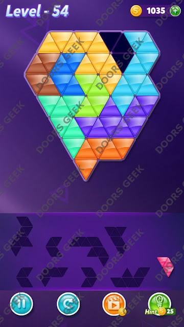 Block! Triangle Puzzle Proficient Level 54 Solution, Cheats, Walkthrough for Android, iPhone, iPad and iPod