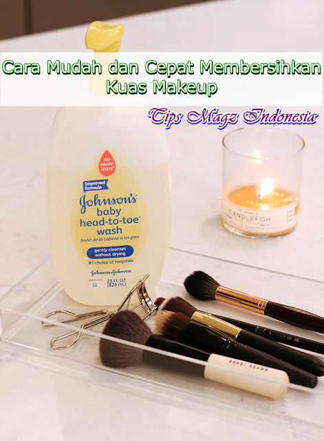 cara mudah membersihkan kuas make up