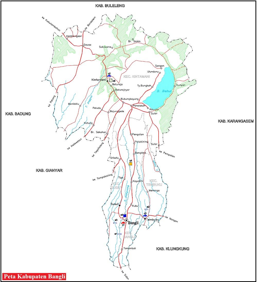 Peta Jalan di Kabupaten Bangli Provinsi Bali