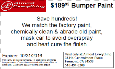 Discount Coupon $189.95 Bumper Paint Sale October 2016