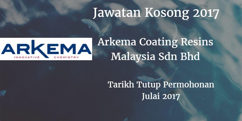 Jawatan Kosong ARKEMA COATING RESINS MALAYSIA SDN.BHD Julai 2017