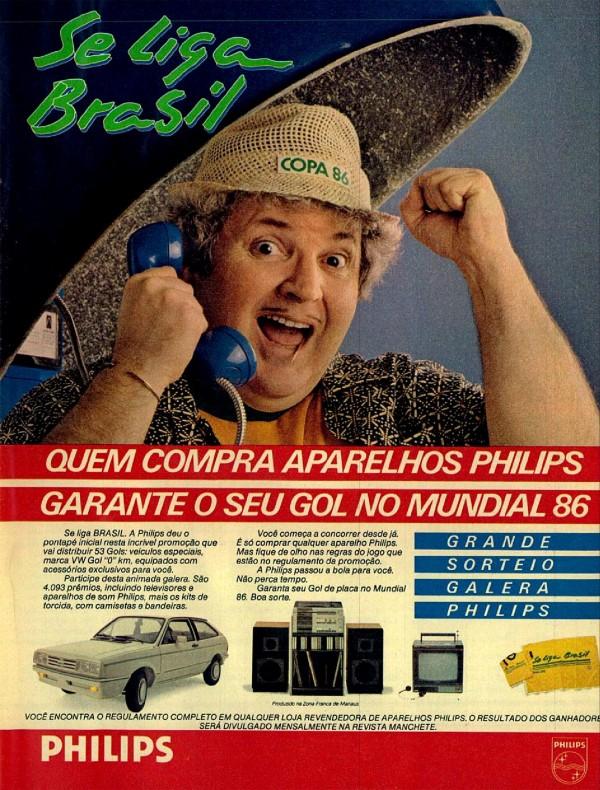 Propaganda da Philips com o Jô Soares promovendo ação promocional durante a Copa do Mundo de 1986