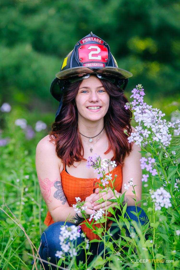 Unique Senior Pictures with Fireman helmet by SudeepStudio.com Ann Arbor Senior Portrait Photographer