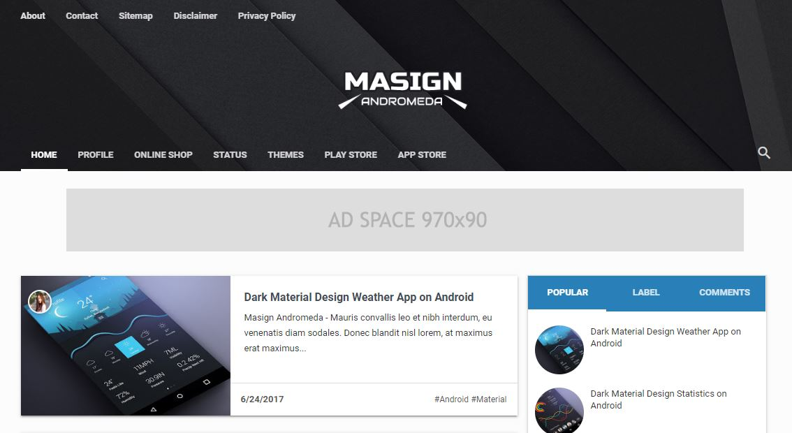 Giao diện blogger Masign Blogger Template
