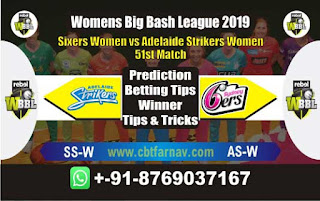 Womens Big Bash League 2019 Adelaide vs Sixer 51st Match Prediction Today Reports