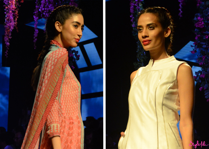 Models wear dutch braids and boxer braids with red lips and highlighted cheekbones for Anita Dongre at Lakme Fashion Week Summer Resort 2016 at St. Regis, Mumbai