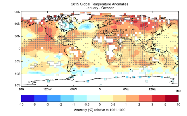 The global climate 2011-2015: Hottest five-year period on record