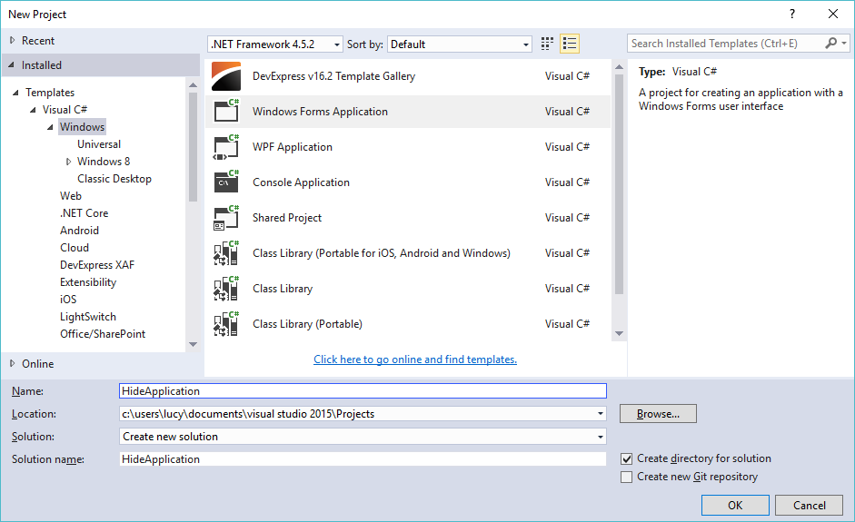 hide windows application in c#