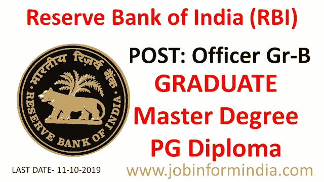RBI Officer Gr-B Recruitment 2019 Apply For 199 Vacant Posts