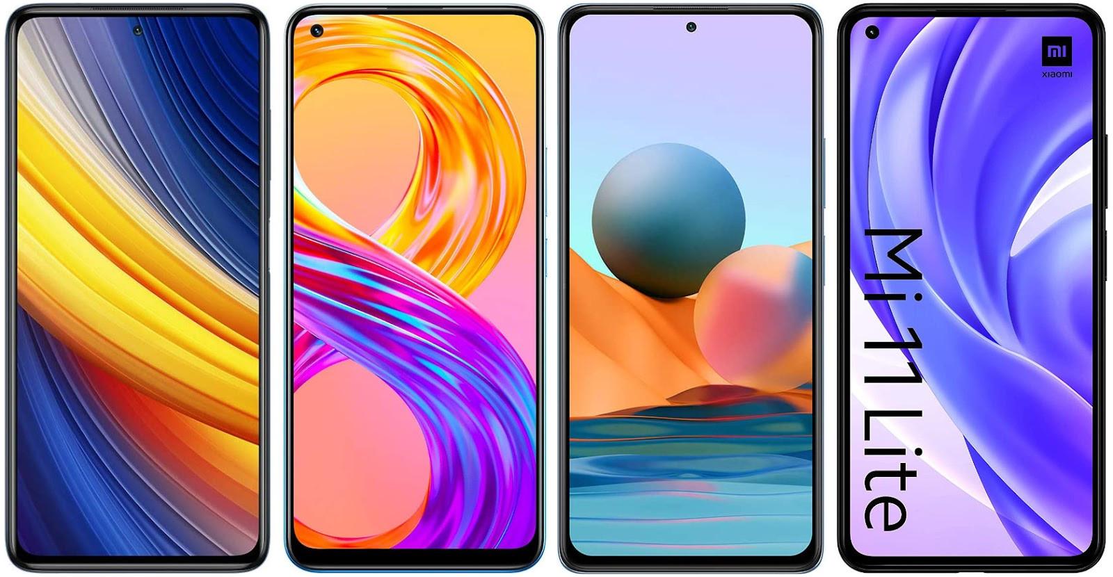 Xiaomi Poco X3 Pro vs Realme 8 Pro vs Xiaomi Redmi Note 10 Pro vs Xiaomi Mi 11 Lite