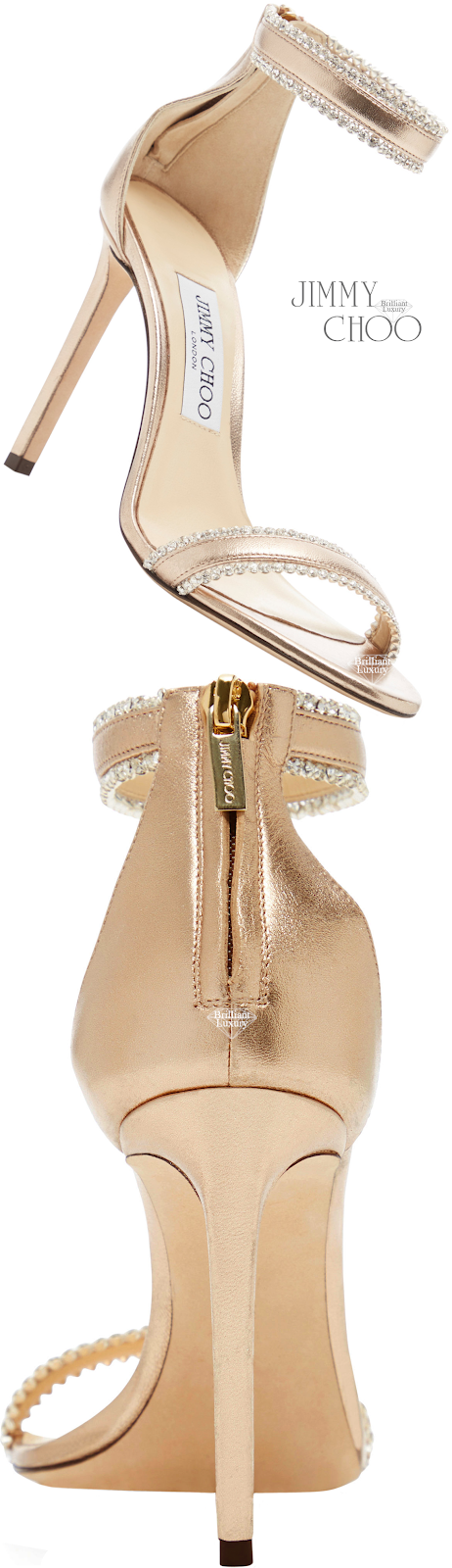 Jimmy Choo Dochas Crystal-Embellished Neutral Leather Sandals #brilliantluxury