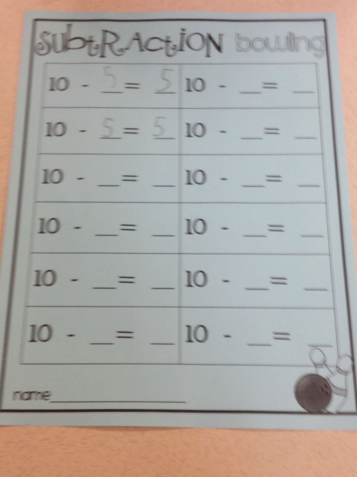 First Grade Mon Stars Subtraction Bowling