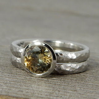 sapphire hammered palladium rings