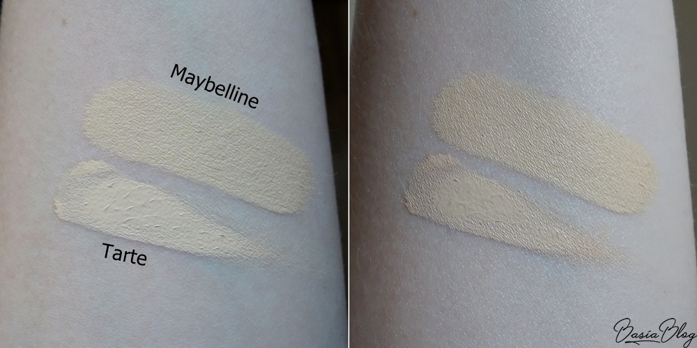 żółty korektor, Korektor Maybelline Instant Anti-Age Eraser Concealer 06 Neutralizer, Tarte Shape Tape Light Sand swatch