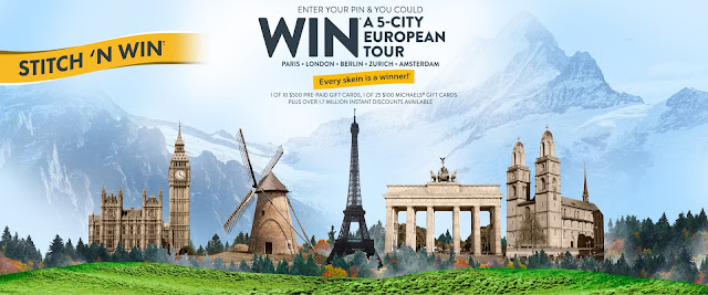 Michaels has teamed up with Bernat to offer you a chance to win a FIVE city European vacation worth nearly $10,000 or gift cards or even craft discounts!