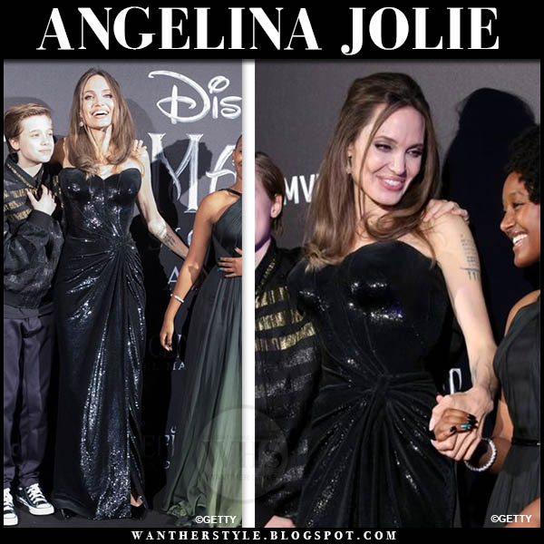 Angelina Jolie In Black Sequin Gown At Maleficent Mistress