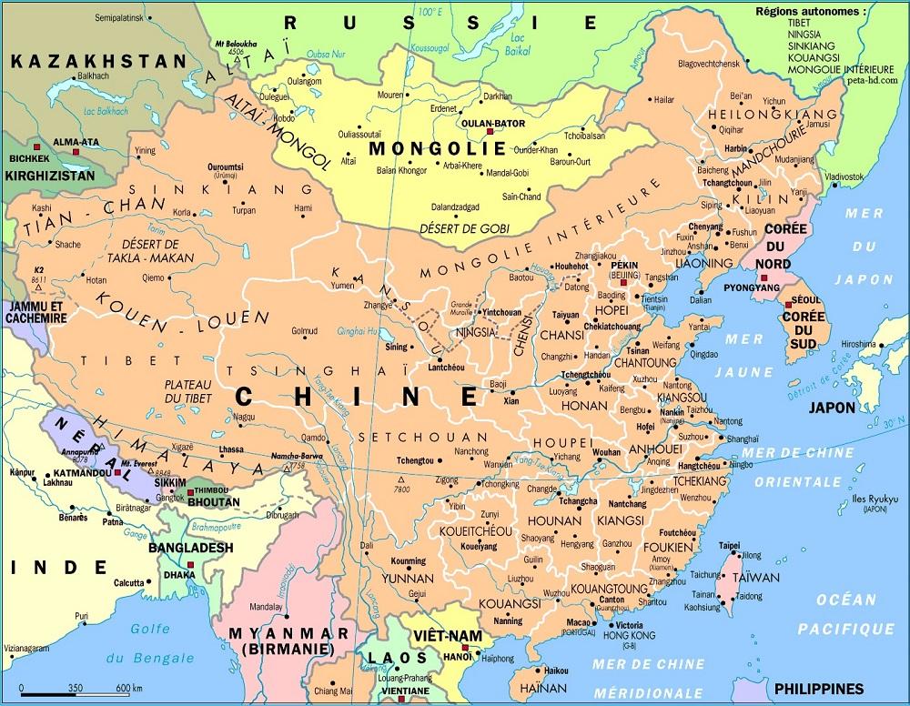 Peta China dan Sekitarnya